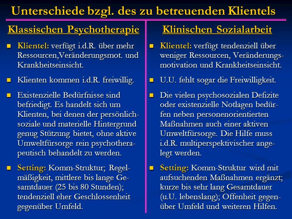 Unterschiede bzgl. des zu betreuenden Klientels Klassischen Psychotherapie Klientel: verfügt i.d.R.