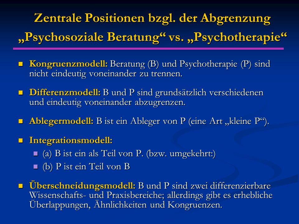 "Zentrale Positionen bzgl. der Abgrenzung ""Psychosoziale Beratung vs."