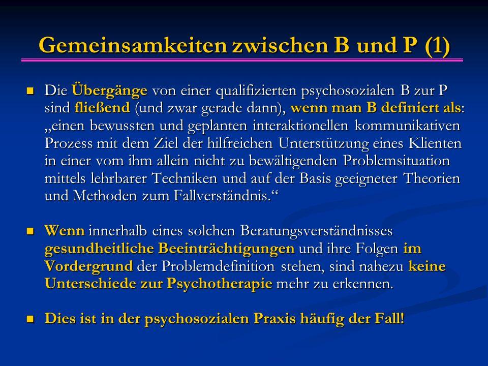 """Gemeinsamkeiten zwischen B und P (1) Die Übergänge von einer qualifizierten psychosozialen B zur P sind fließend (und zwar gerade dann), wenn man B definiert als: """"einen bewussten und geplanten interaktionellen kommunikativen Prozess mit dem Ziel der hilfreichen Unterstützung eines Klienten in einer vom ihm allein nicht zu bewältigenden Problemsituation mittels lehrbarer Techniken und auf der Basis geeigneter Theorien und Methoden zum Fallverständnis. Die Übergänge von einer qualifizierten psychosozialen B zur P sind fließend (und zwar gerade dann), wenn man B definiert als: """"einen bewussten und geplanten interaktionellen kommunikativen Prozess mit dem Ziel der hilfreichen Unterstützung eines Klienten in einer vom ihm allein nicht zu bewältigenden Problemsituation mittels lehrbarer Techniken und auf der Basis geeigneter Theorien und Methoden zum Fallverständnis. Wenn innerhalb eines solchen Beratungsverständnisses gesundheitliche Beeinträchtigungen und ihre Folgen im Vordergrund der Problemdefinition stehen, sind nahezu keine Unterschiede zur Psychotherapie mehr zu erkennen."""