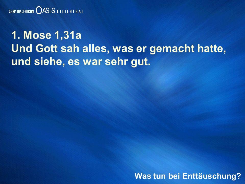 1. Mose 1,31a Und Gott sah alles, was er gemacht hatte, und siehe, es war sehr gut.