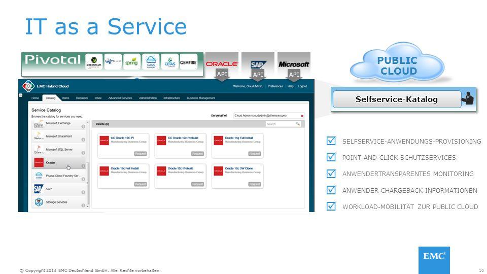10© Copyright 2014 EMC Deutschland GmbH. Alle Rechte vorbehalten. IT as a Service Selfservice und Policy-basierte Cloudservices VMWARE vCLOUD SUITE In