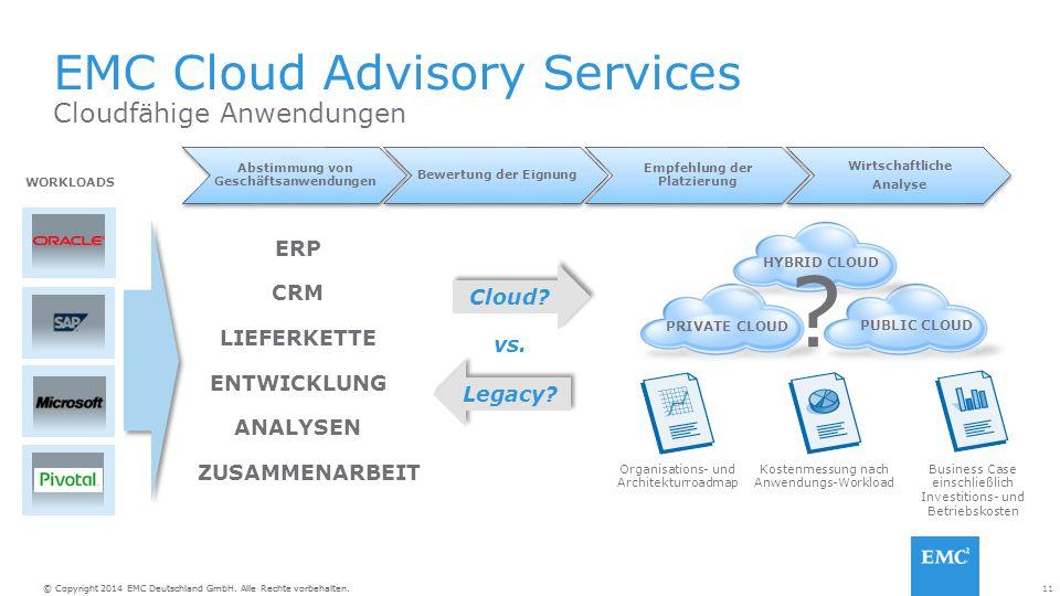 11© Copyright 2014 EMC Deutschland GmbH. Alle Rechte vorbehalten. WORKLOADS EMC Cloud Advisory Services Abstimmung von Geschäftsanwendungen Bewertung