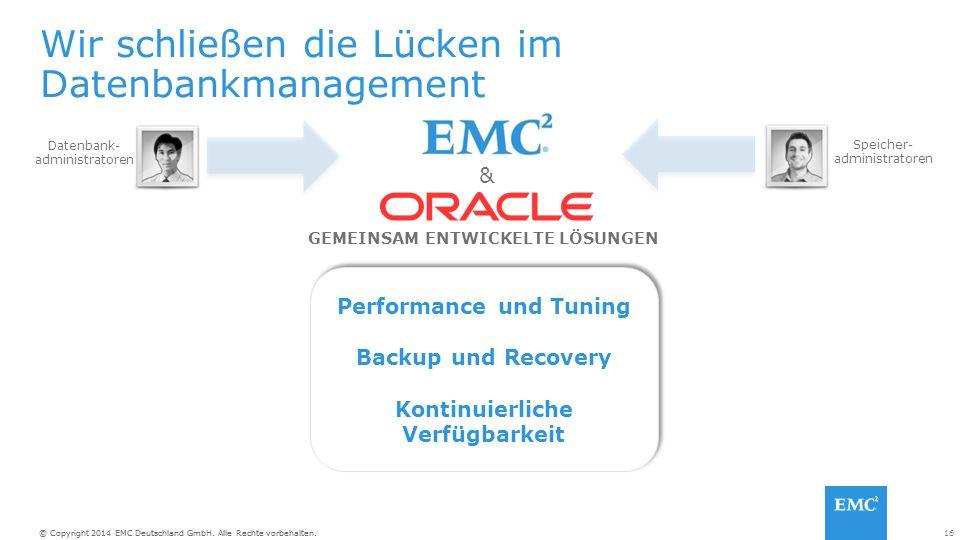 16© Copyright 2014 EMC Deutschland GmbH. Alle Rechte vorbehalten. Wir schließen die Lücken im Datenbankmanagement GEMEINSAM ENTWICKELTE LÖSUNGEN & Per