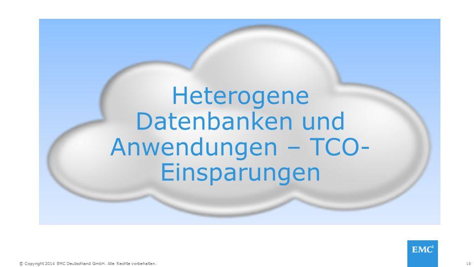 19© Copyright 2014 EMC Deutschland GmbH. Alle Rechte vorbehalten. Heterogene Datenbanken und Anwendungen – TCO- Einsparungen