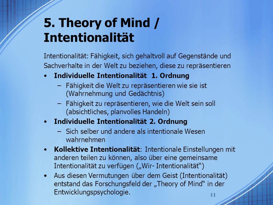 5. Theory of Mind / Intentionalität Intentionalität: Fähigkeit, sich gehaltvoll auf Gegenstände und Sachverhalte in der Welt zu beziehen, diese zu rep