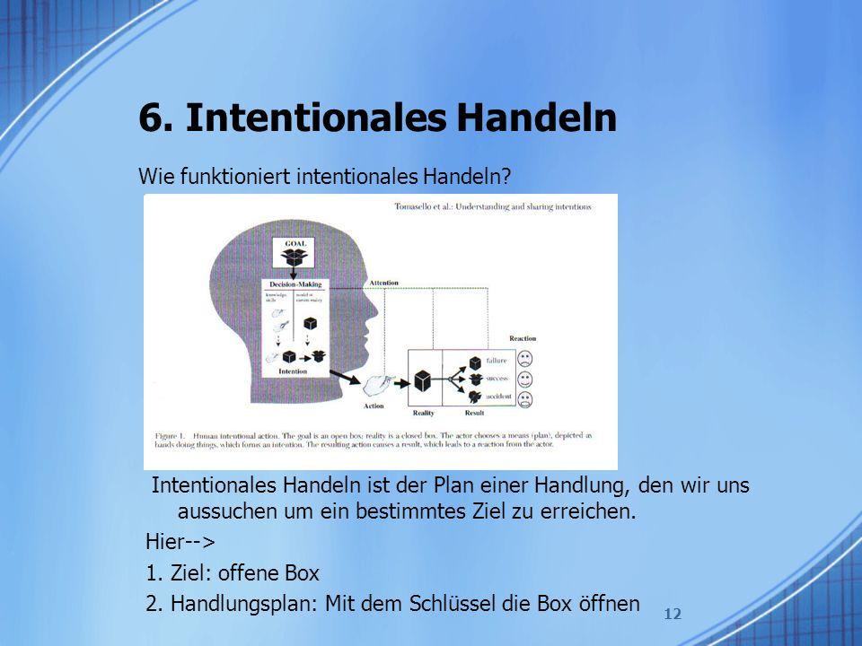 6. Intentionales Handeln Wie funktioniert intentionales Handeln? 12 Intentionales Handeln ist der Plan einer Handlung, den wir uns aussuchen um ein be
