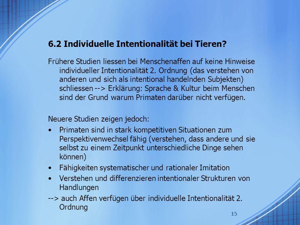 6.2 Individuelle Intentionalität bei Tieren? Frühere Studien liessen bei Menschenaffen auf keine Hinweise individueller Intentionalität 2. Ordnung (da