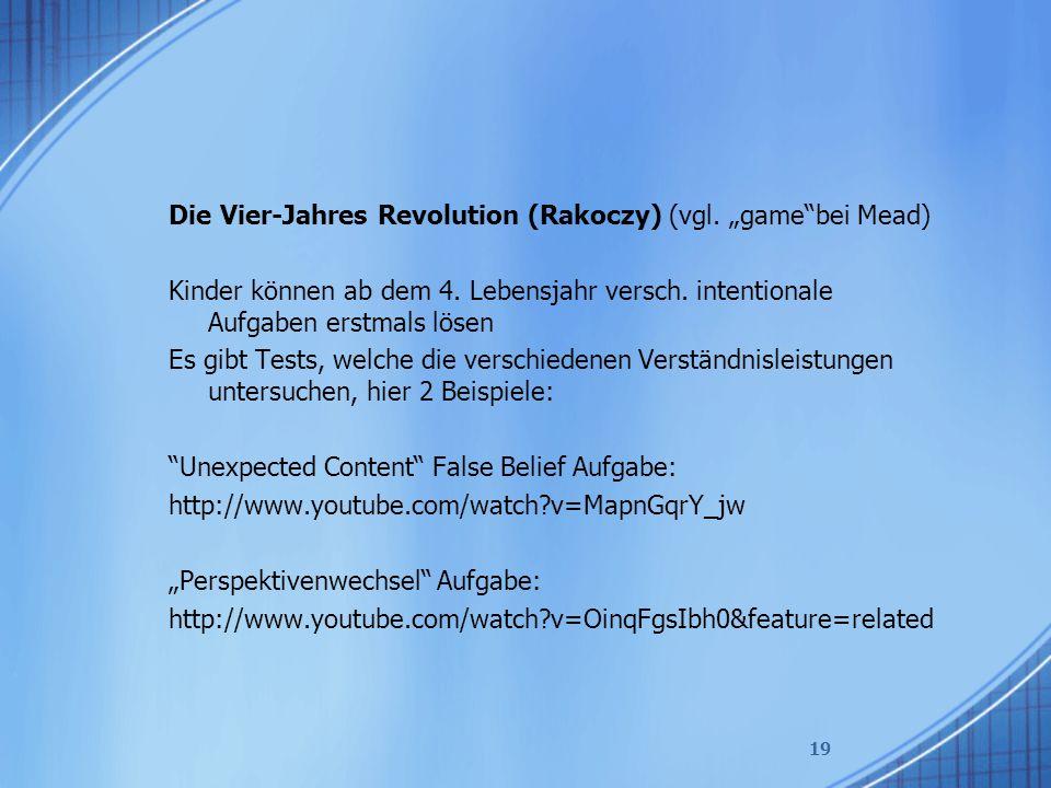 """Die Vier-Jahres Revolution (Rakoczy) (vgl.""""game bei Mead) Kinder können ab dem 4."""