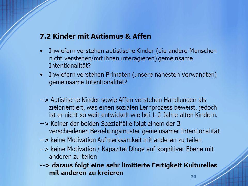7.2 Kinder mit Autismus & Affen Inwiefern verstehen autistische Kinder (die andere Menschen nicht verstehen/mit ihnen interagieren) gemeinsame Intentionalität.