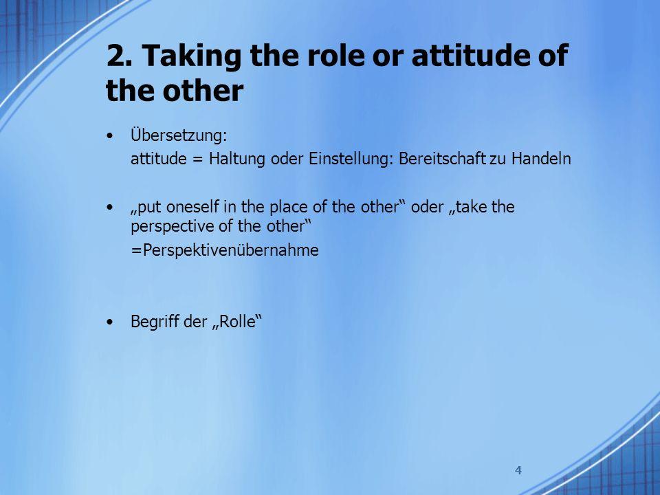 """2. Taking the role or attitude of the other Übersetzung: attitude = Haltung oder Einstellung: Bereitschaft zu Handeln """"put oneself in the place of the"""