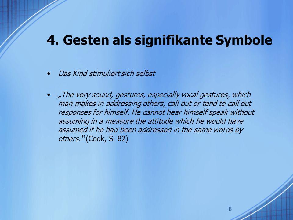 """4. Gesten als signifikante Symbole Das Kind stimuliert sich selbst """"The very sound, gestures, especially vocal gestures, which man makes in addressing"""