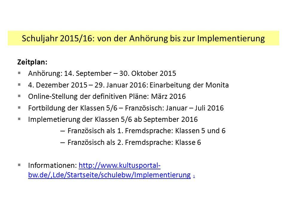 Zeitplan:  Anhörung: 14. September – 30. Oktober 2015  4. Dezember 2015 – 29. Januar 2016: Einarbeitung der Monita  Online-Stellung der definitiven