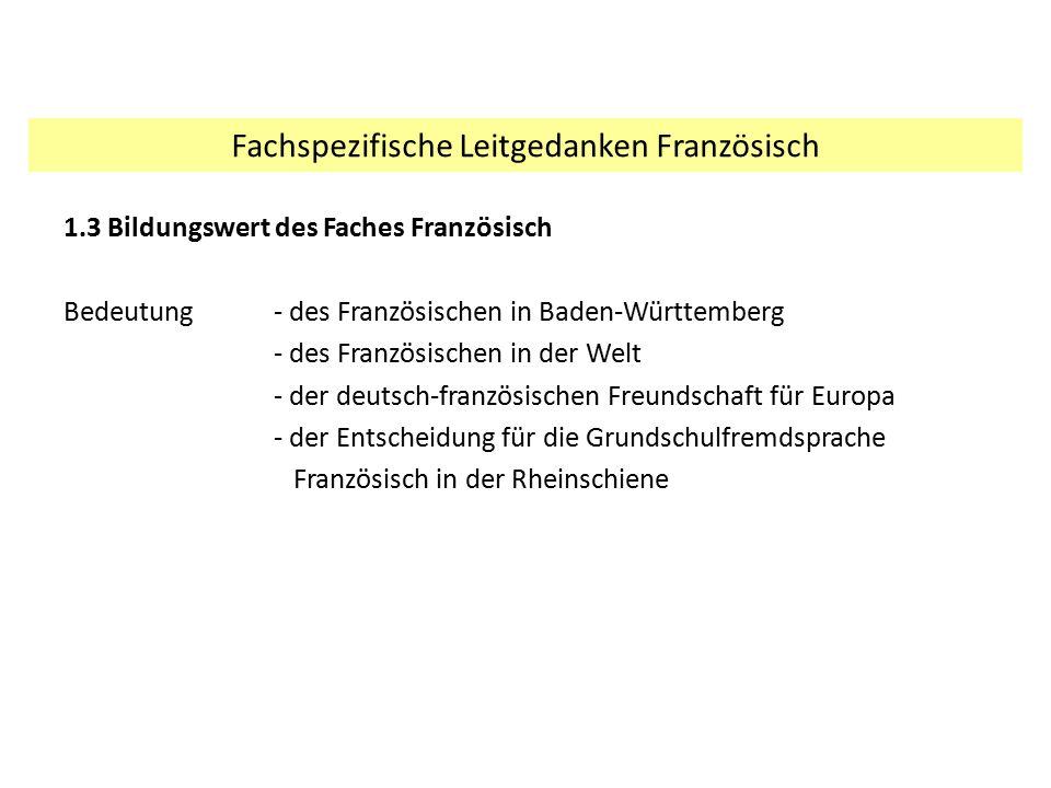 1.3 Bildungswert des Faches Französisch Bedeutung - des Französischen in Baden-Württemberg - des Französischen in der Welt - der deutsch-französischen