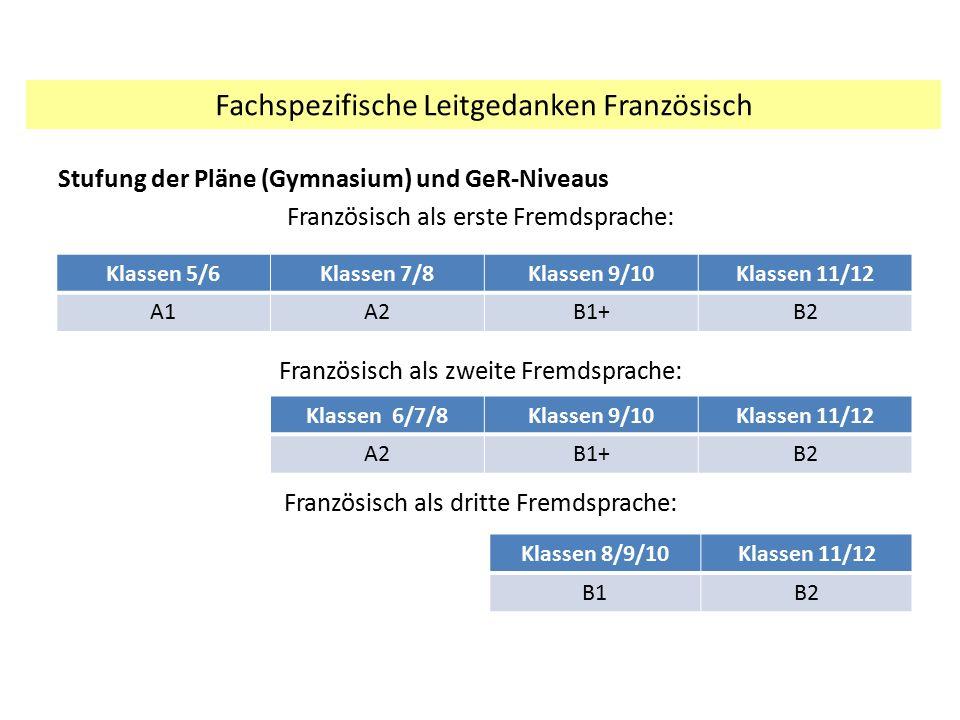 Stufung der Pläne (Gymnasium) und GeR-Niveaus Französisch als erste Fremdsprache: Französisch als zweite Fremdsprache: Französisch als dritte Fremdspr