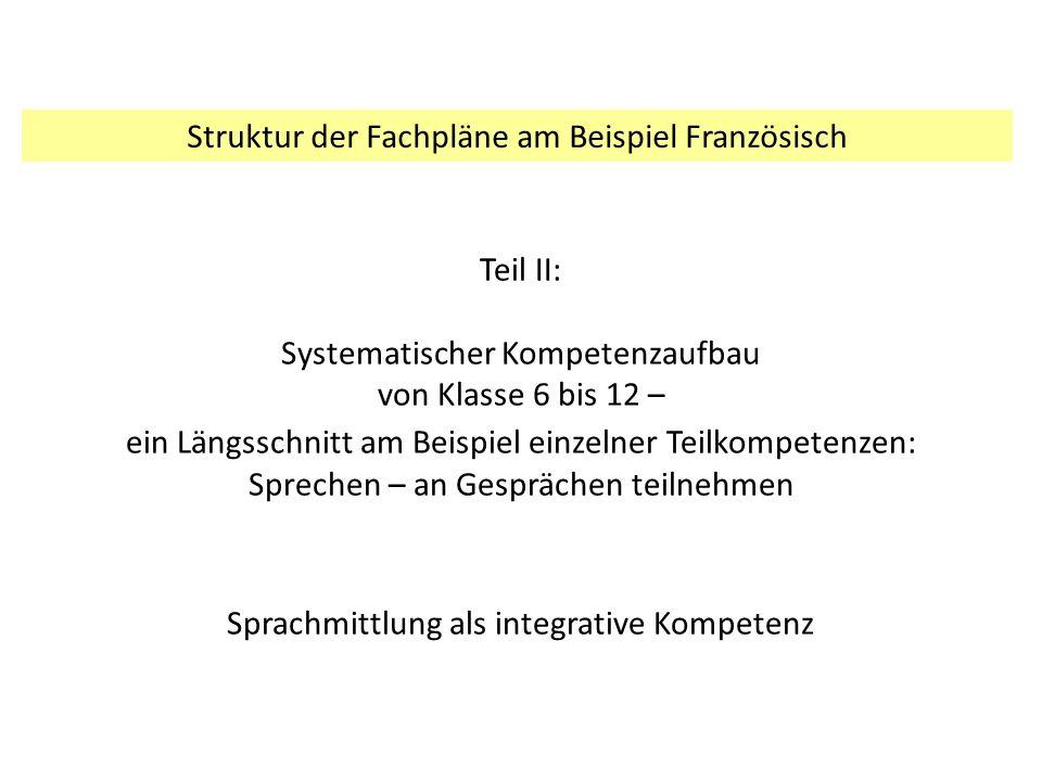 Teil II: Systematischer Kompetenzaufbau von Klasse 6 bis 12 – ein Längsschnitt am Beispiel einzelner Teilkompetenzen: Sprechen – an Gesprächen teilneh