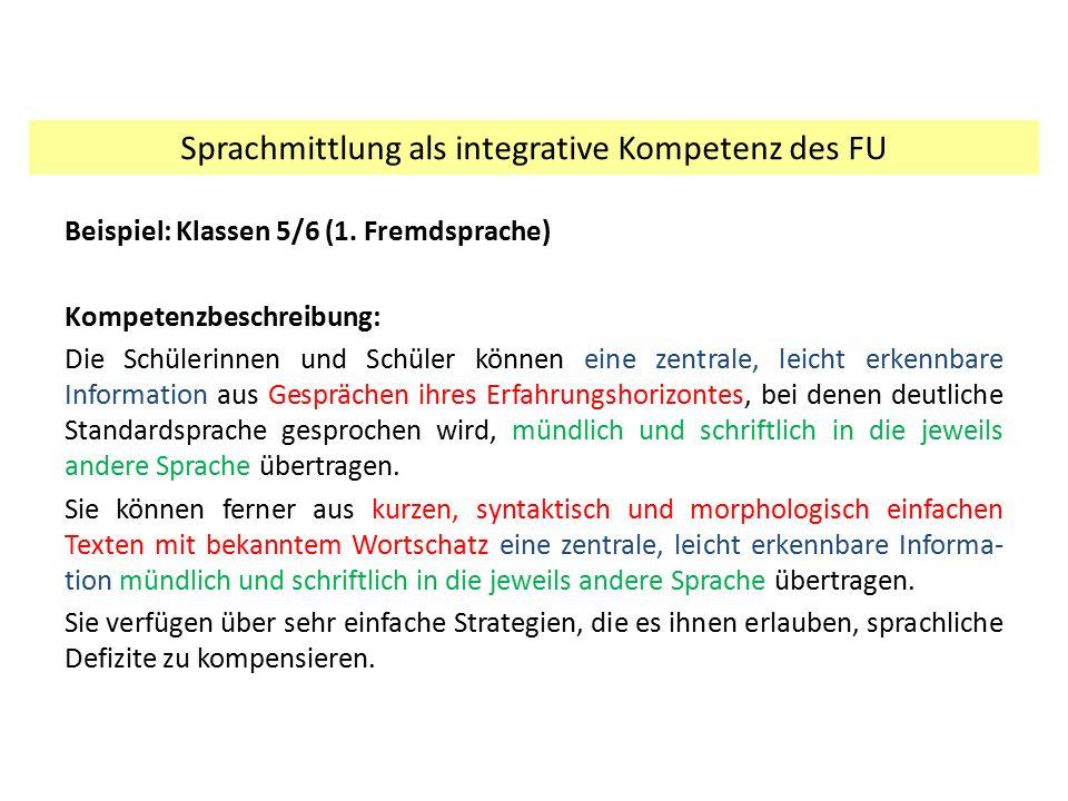 Beispiel: Klassen 5/6 (1. Fremdsprache) Kompetenzbeschreibung: Die Schülerinnen und Schüler können eine zentrale, leicht erkennbare Information aus Ge