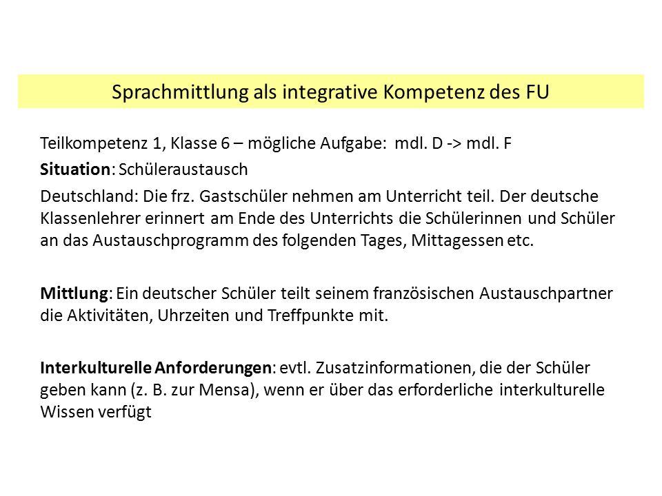 Teilkompetenz 1, Klasse 6 – mögliche Aufgabe: mdl. D -> mdl. F Situation: Schüleraustausch Deutschland: Die frz. Gastschüler nehmen am Unterricht teil