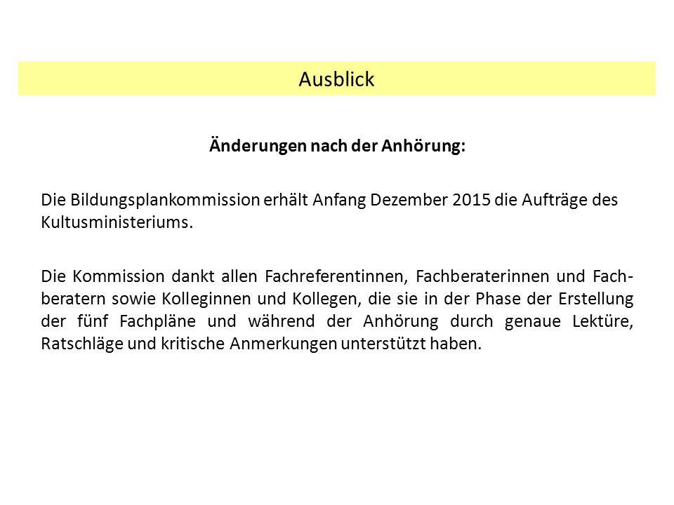 Änderungen nach der Anhörung: Die Bildungsplankommission erhält Anfang Dezember 2015 die Aufträge des Kultusministeriums. Die Kommission dankt allen F