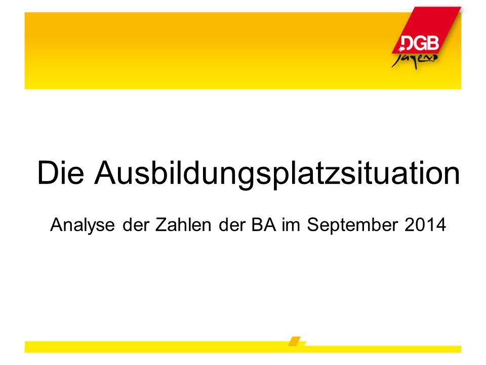 Die Ausbildungsplatzsituation Analyse der Zahlen der BA im September 2014
