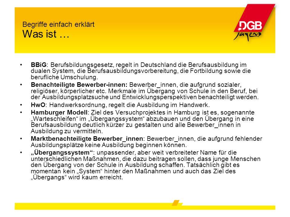 BBiG: Berufsbildungsgesetz, regelt in Deutschland die Berufsausbildung im dualen System, die Berufsausbildungsvorbereitung, die Fortbildung sowie die berufliche Umschulung.