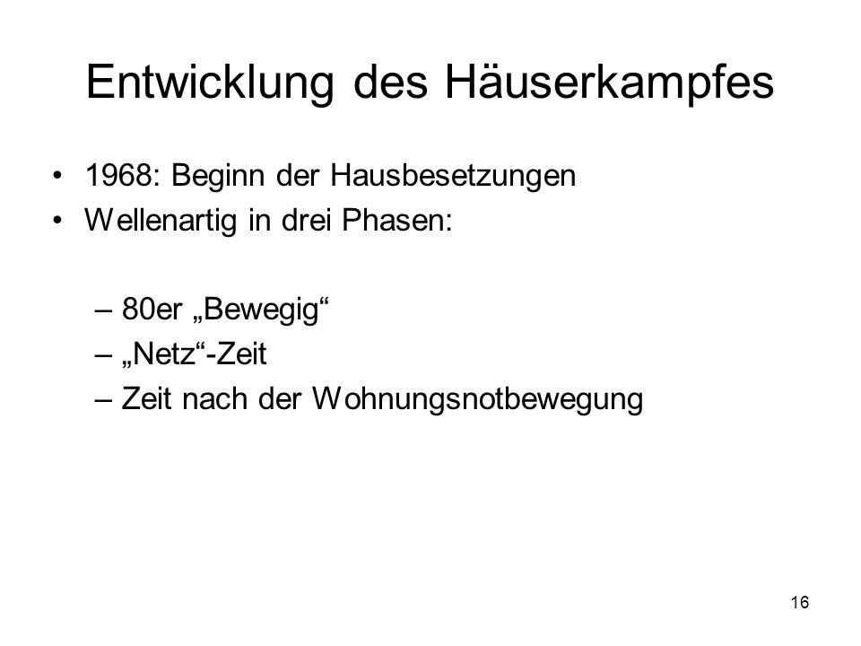 """16 Entwicklung des Häuserkampfes 1968: Beginn der Hausbesetzungen Wellenartig in drei Phasen: –80er """"Bewegig"""" –""""Netz""""-Zeit –Zeit nach der Wohnungsnotb"""
