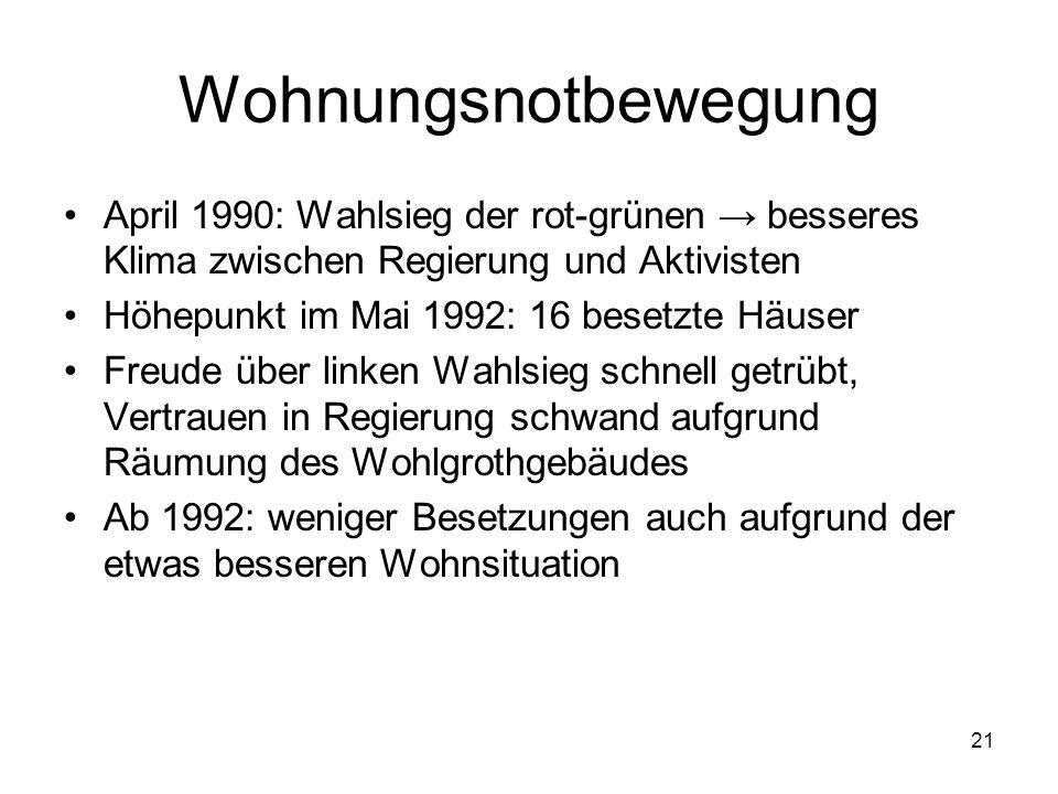 21 Wohnungsnotbewegung April 1990: Wahlsieg der rot-grünen → besseres Klima zwischen Regierung und Aktivisten Höhepunkt im Mai 1992: 16 besetzte Häuse