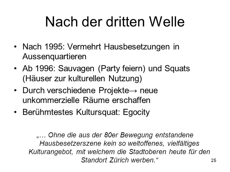 25 Nach der dritten Welle Nach 1995: Vermehrt Hausbesetzungen in Aussenquartieren Ab 1996: Sauvagen (Party feiern) und Squats (Häuser zur kulturellen