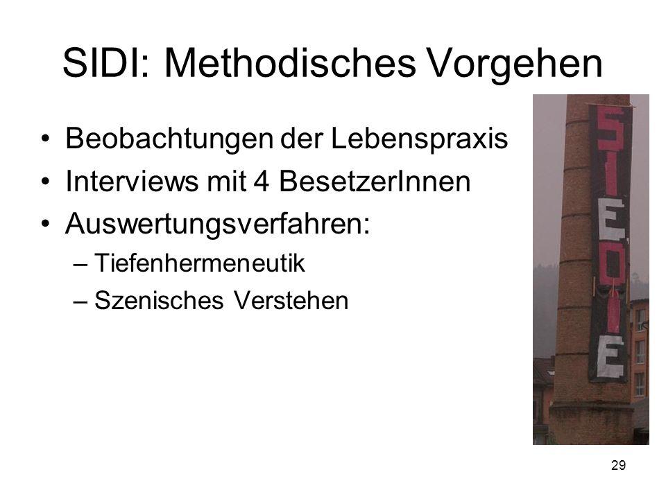 29 SIDI: Methodisches Vorgehen Beobachtungen der Lebenspraxis Interviews mit 4 BesetzerInnen Auswertungsverfahren: –Tiefenhermeneutik –Szenisches Vers