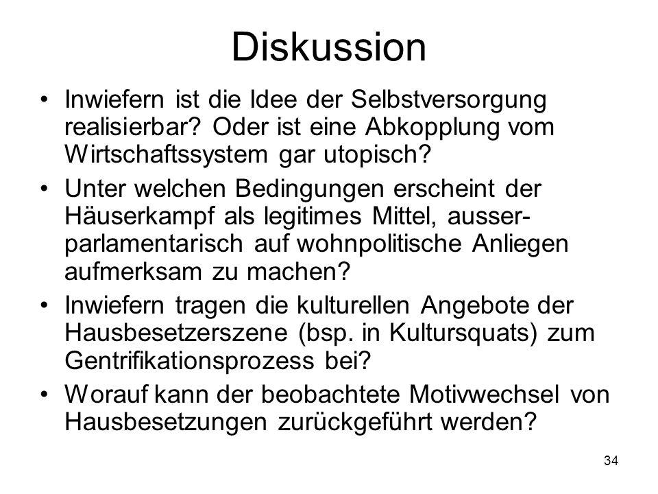 34 Diskussion Inwiefern ist die Idee der Selbstversorgung realisierbar? Oder ist eine Abkopplung vom Wirtschaftssystem gar utopisch? Unter welchen Bed