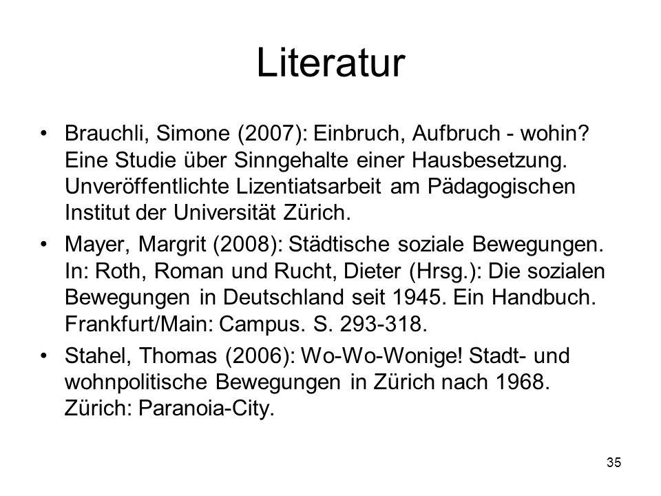 35 Literatur Brauchli, Simone (2007): Einbruch, Aufbruch - wohin? Eine Studie über Sinngehalte einer Hausbesetzung. Unveröffentlichte Lizentiatsarbeit
