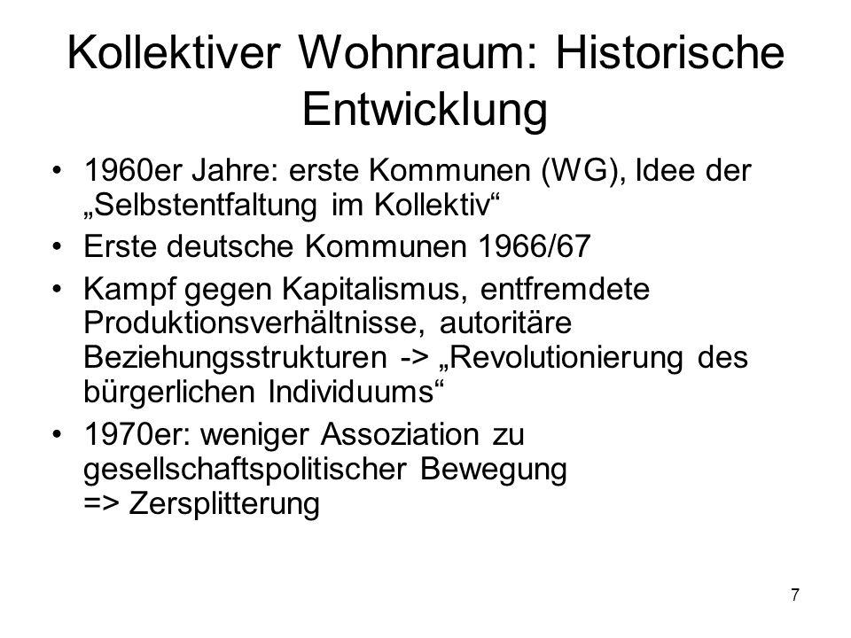 """7 Kollektiver Wohnraum: Historische Entwicklung 1960er Jahre: erste Kommunen (WG), Idee der """"Selbstentfaltung im Kollektiv"""" Erste deutsche Kommunen 19"""