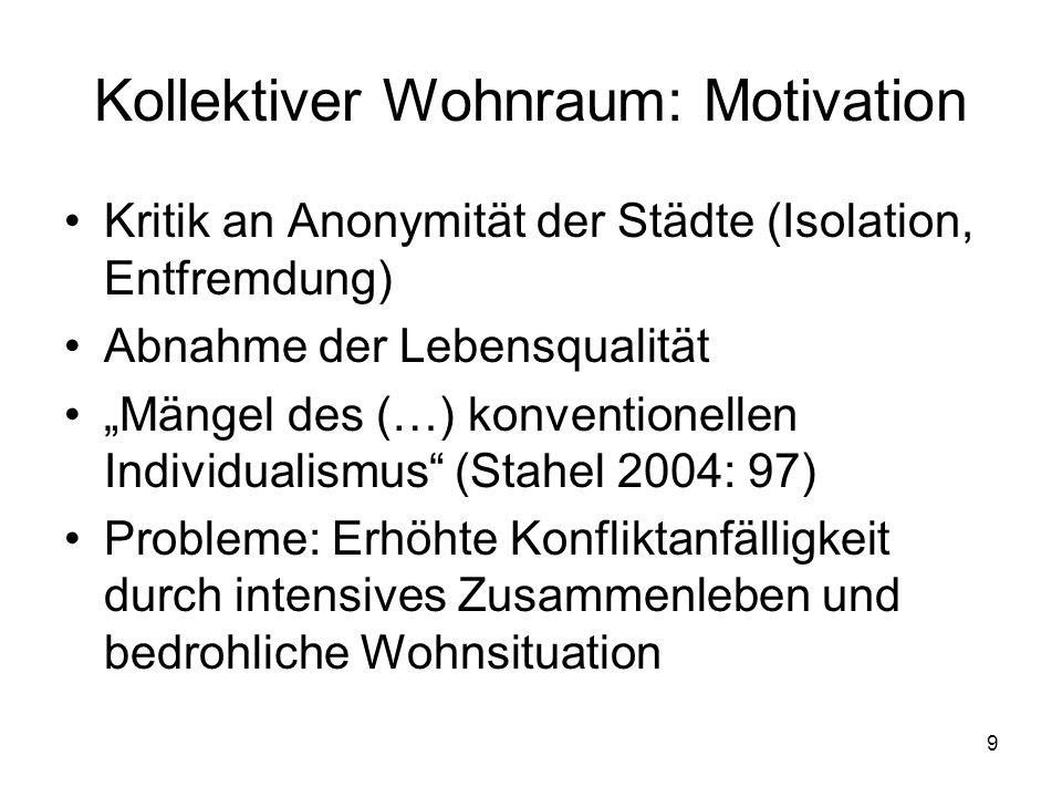 """9 Kollektiver Wohnraum: Motivation Kritik an Anonymität der Städte (Isolation, Entfremdung) Abnahme der Lebensqualität """"Mängel des (…) konventionellen"""