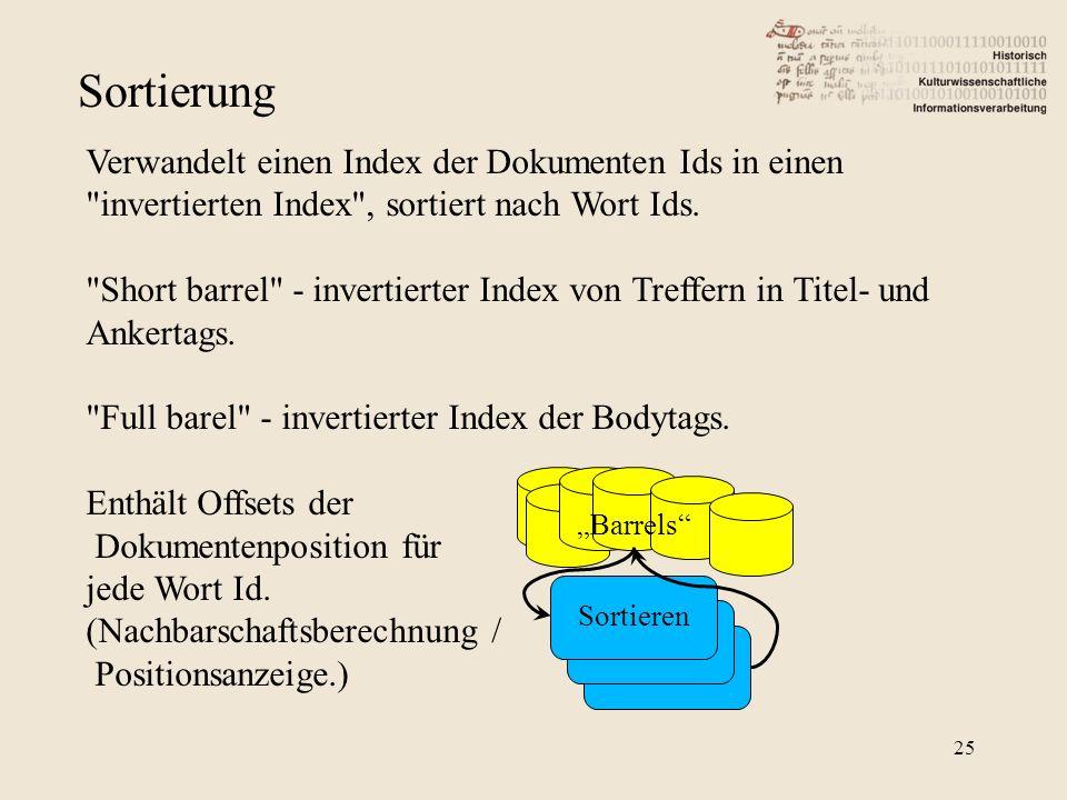 """Sortierung """"Barrels Sortieren Verwandelt einen Index der Dokumenten Ids in einen invertierten Index , sortiert nach Wort Ids."""
