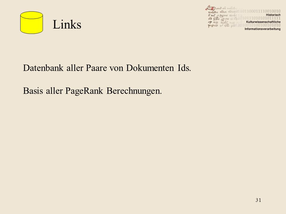 Links Datenbank aller Paare von Dokumenten Ids. Basis aller PageRank Berechnungen. 31