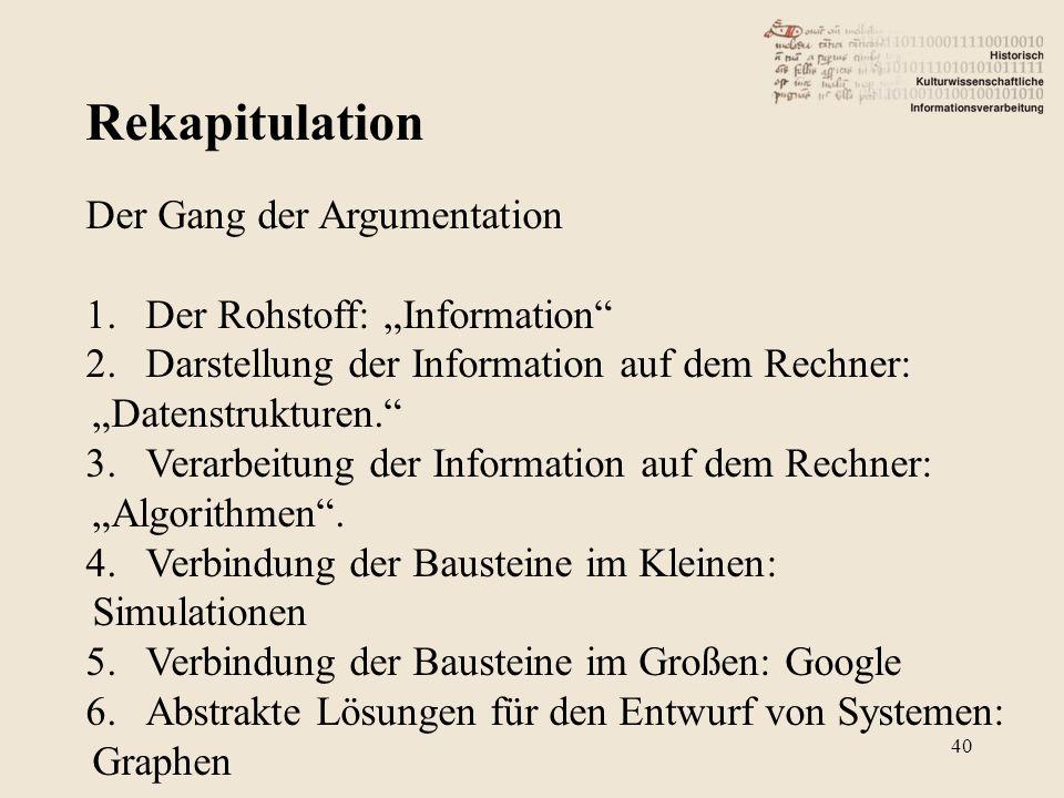"""Rekapitulation 40 Der Gang der Argumentation 1.Der Rohstoff: """"Information 2.Darstellung der Information auf dem Rechner: """"Datenstrukturen. 3.Verarbeitung der Information auf dem Rechner: """"Algorithmen ."""