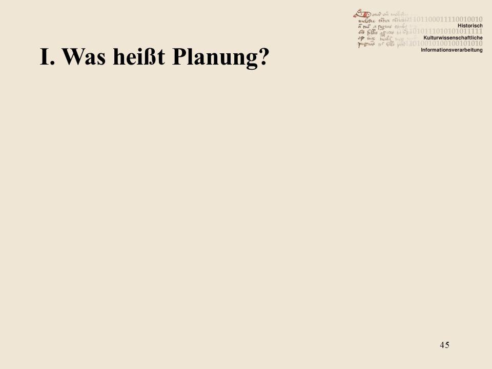 I. Was heißt Planung? 45