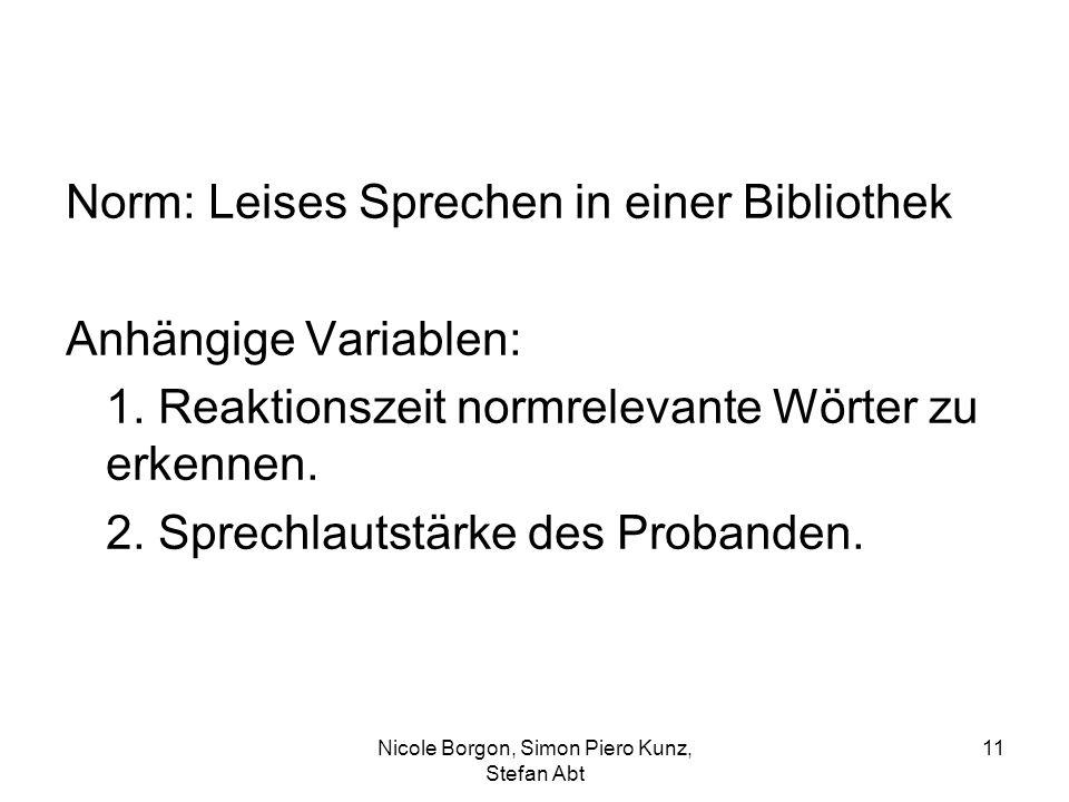 Norm: Leises Sprechen in einer Bibliothek Anhängige Variablen: 1. Reaktionszeit normrelevante Wörter zu erkennen. 2. Sprechlautstärke des Probanden. N