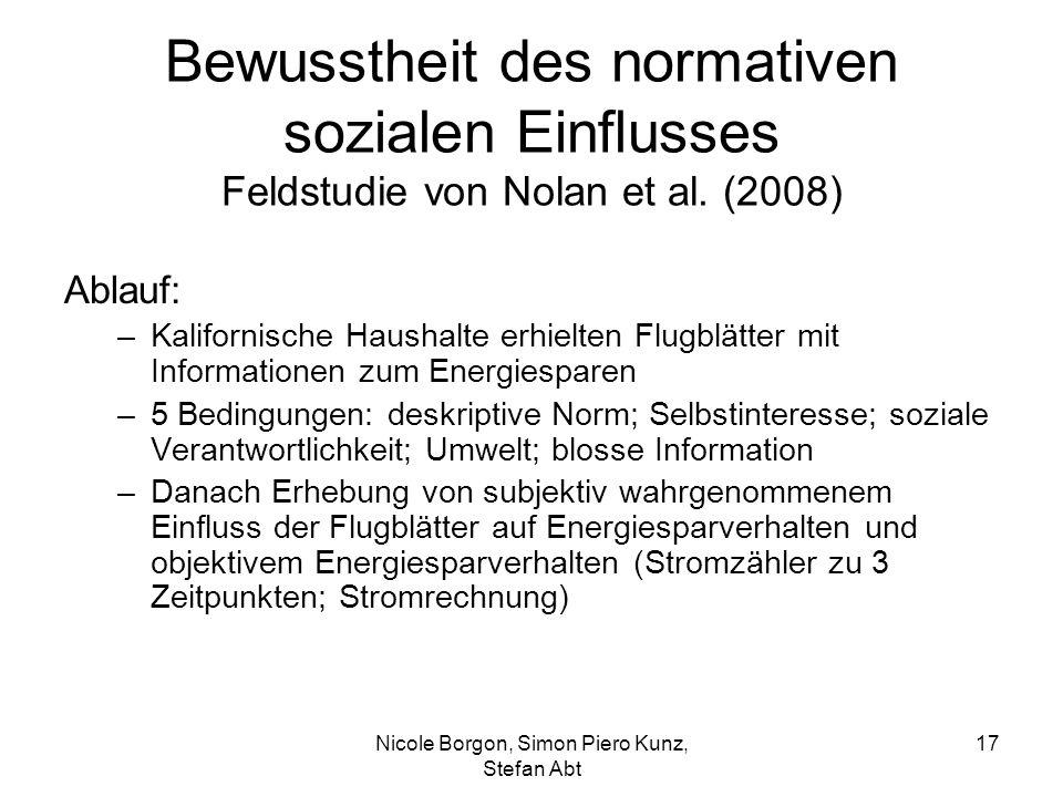 Bewusstheit des normativen sozialen Einflusses Feldstudie von Nolan et al. (2008) Ablauf: –Kalifornische Haushalte erhielten Flugblätter mit Informati