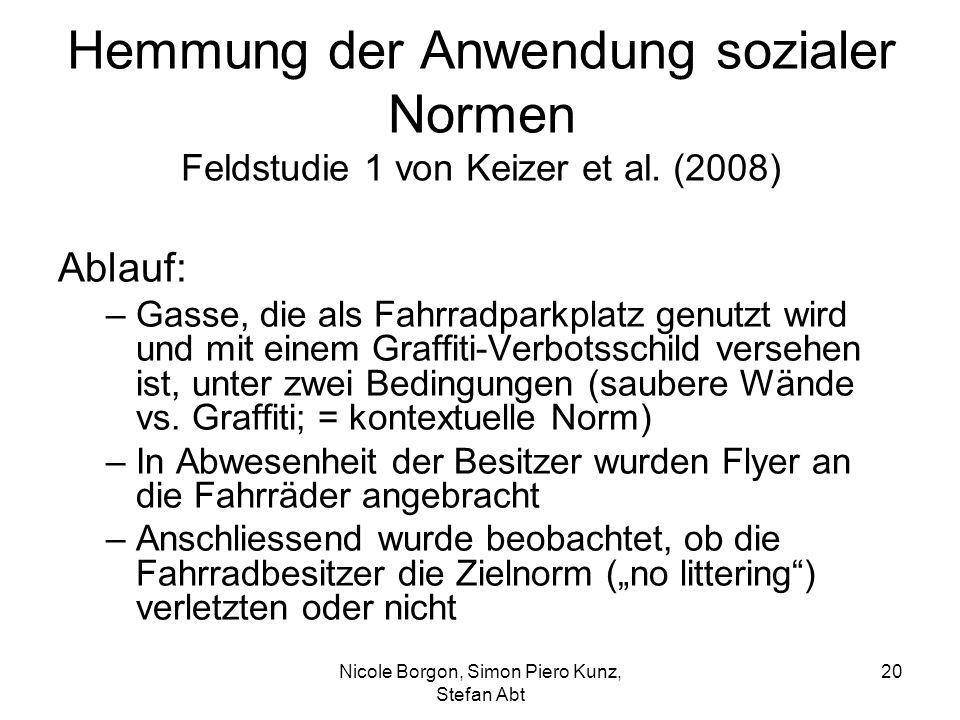 Hemmung der Anwendung sozialer Normen Feldstudie 1 von Keizer et al.