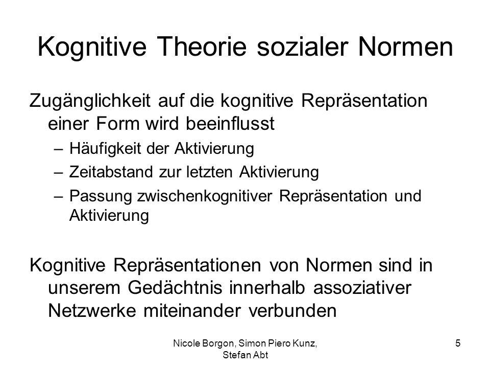 Kognitive Theorie sozialer Normen Zugänglichkeit auf die kognitive Repräsentation einer Form wird beeinflusst –Häufigkeit der Aktivierung –Zeitabstand zur letzten Aktivierung –Passung zwischenkognitiver Repräsentation und Aktivierung Kognitive Repräsentationen von Normen sind in unserem Gedächtnis innerhalb assoziativer Netzwerke miteinander verbunden Nicole Borgon, Simon Piero Kunz, Stefan Abt 5