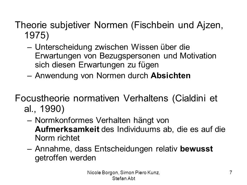 Theorie subjetiver Normen (Fischbein und Ajzen, 1975) –Unterscheidung zwischen Wissen über die Erwartungen von Bezugspersonen und Motivation sich dies