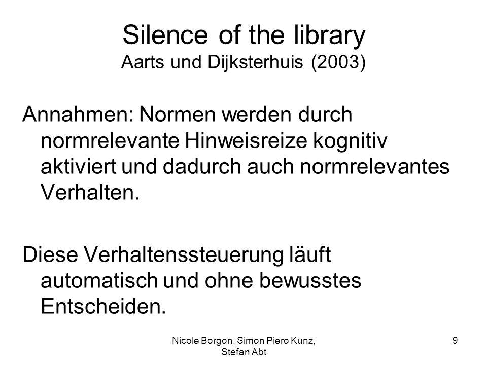 Silence of the library Aarts und Dijksterhuis (2003) Annahmen: Normen werden durch normrelevante Hinweisreize kognitiv aktiviert und dadurch auch normrelevantes Verhalten.