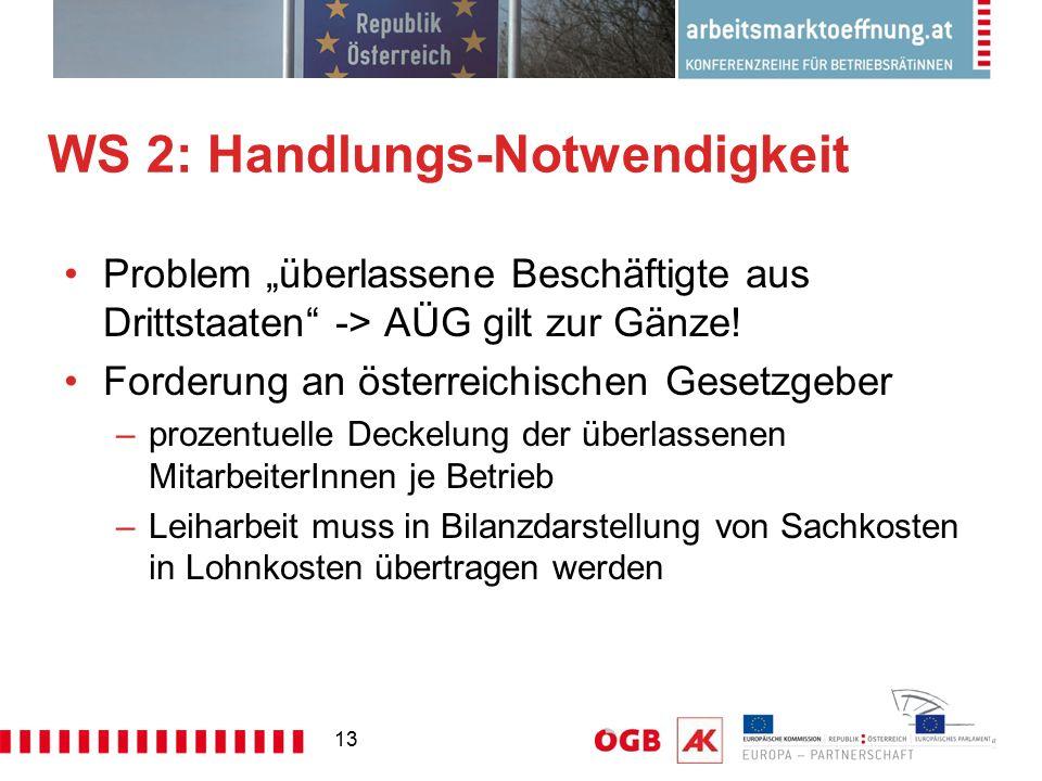 """13 WS 2: Handlungs-Notwendigkeit Problem """"überlassene Beschäftigte aus Drittstaaten"""" -> AÜG gilt zur Gänze! Forderung an österreichischen Gesetzgeber"""