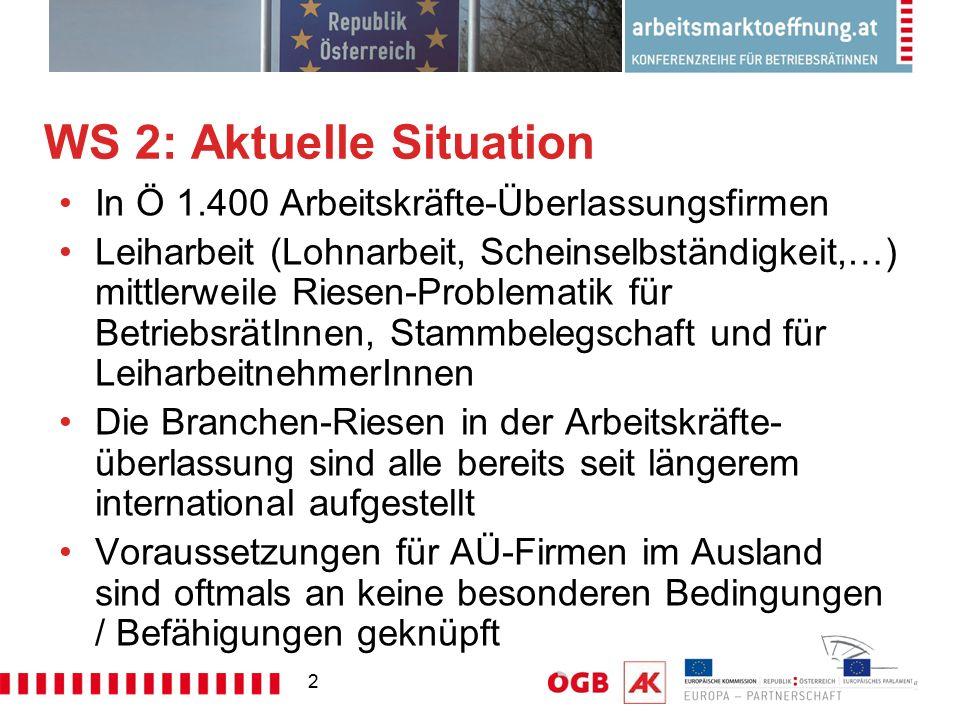 2 WS 2: Aktuelle Situation In Ö 1.400 Arbeitskräfte-Überlassungsfirmen Leiharbeit (Lohnarbeit, Scheinselbständigkeit,…) mittlerweile Riesen-Problemati