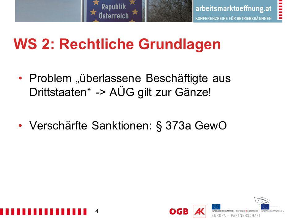 """4 WS 2: Rechtliche Grundlagen Problem """"überlassene Beschäftigte aus Drittstaaten"""" -> AÜG gilt zur Gänze! Verschärfte Sanktionen: § 373a GewO"""
