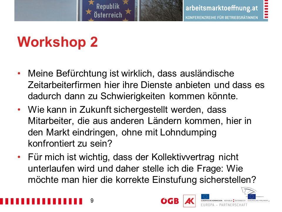 9 Workshop 2 Meine Befürchtung ist wirklich, dass ausländische Zeitarbeiterfirmen hier ihre Dienste anbieten und dass es dadurch dann zu Schwierigkeiten kommen könnte.