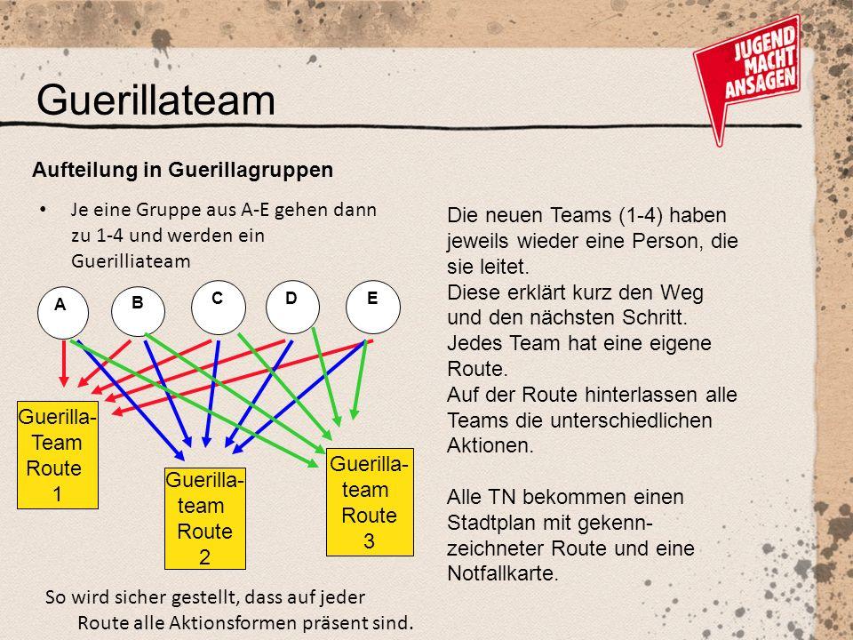 Guerillateam Die neuen Teams (1-4) haben jeweils wieder eine Person, die sie leitet.