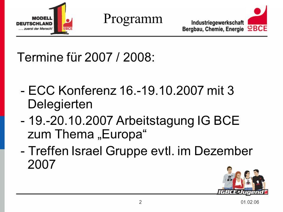 """01.02.062 Programm Termine für 2007 / 2008: - ECC Konferenz 16.-19.10.2007 mit 3 Delegierten - 19.-20.10.2007 Arbeitstagung IG BCE zum Thema """"Europa - Treffen Israel Gruppe evtl."""