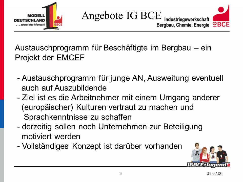 01.02.063 Angebote IG BCE Austauschprogramm für Beschäftigte im Bergbau – ein Projekt der EMCEF - Austauschprogramm für junge AN, Ausweitung eventuell auch auf Auszubildende - Ziel ist es die Arbeitnehmer mit einem Umgang anderer (europäischer) Kulturen vertraut zu machen und Sprachkenntnisse zu schaffen - derzeitig sollen noch Unternehmen zur Beteiligung motiviert werden - Vollständiges Konzept ist darüber vorhanden