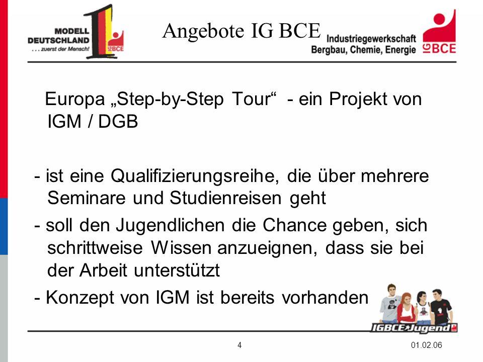 """01.02.064 Angebote IG BCE Europa """"Step-by-Step Tour - ein Projekt von IGM / DGB - ist eine Qualifizierungsreihe, die über mehrere Seminare und Studienreisen geht - soll den Jugendlichen die Chance geben, sich schrittweise Wissen anzueignen, dass sie bei der Arbeit unterstützt - Konzept von IGM ist bereits vorhanden"""